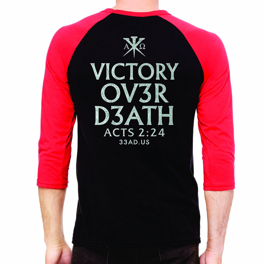 Unisex 34 Sleeve Baseball Tee Victory Over Death Custom Apparel